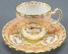 Minton-Hand-Colored-Floral-amp-Gilt-Peach-Demitasse-Cup-amp-Saucer-C-1891-1902