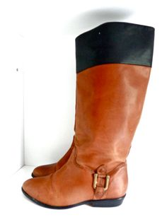 1970s Vintage Brown and Black Womens Ridding Boots  Size 7