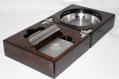 New Walnut Folding Cigar Ashtray Set with Cigar Cutter   eBay