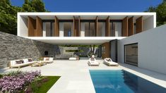 Villa WoW - A house without limits with nature that combines the tradition of Mediterranean construction with the modernity Minimalist House Design, Minimalist Architecture, Modern Architecture House, Architecture Design, Casa Loft, Modern Villa Design, Modern Mansion, Modern House Plans, Facade House
