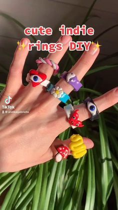Fimo Ring, Polymer Clay Ring, Polymer Clay Crafts, Diy Crafts Jewelry, Fun Diy Crafts, Ring Crafts, Diy Clay Rings, Clay Art Projects, Cute Clay