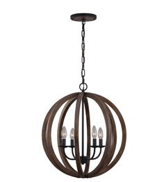 Feiss Allier 4 Light Chandelier Large Pendant in Weather Oak Wood and Antique Forged Iron F2935/4WOW/AF