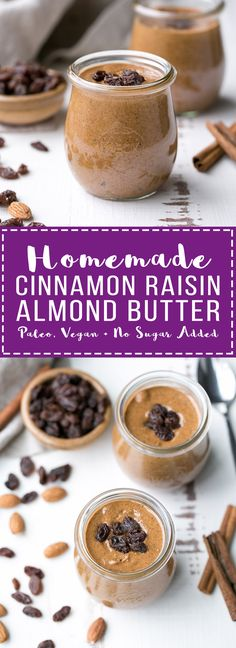 This homemade Cinnamon Raisin Almond Butter is smooth and creamy, with chewy bits of raisins in every spoonful! Spread it on apples, bananas, toast, or just enjoy it as is.