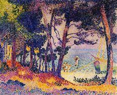 Un bois de pin, Provence, huile sur toile de Henri Edmond Cross (1856-1910, France)