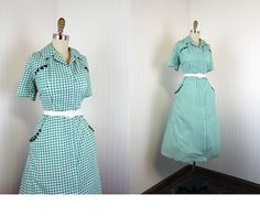 1940s Dress  Vintage 40s Dress  Deco Green Gingham by jumblelaya, $138.00