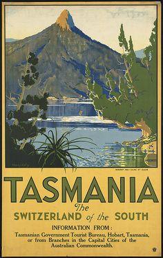 Tasmania vintage travel poster via Boston Public Library. Old Poster, Retro Poster, Advertising Poster, Poster Ads, Poster Prints, Art Prints, Vintage Advertisements, Vintage Ads, Vintage Images