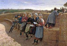Emile Vernon:    Breton Children Reading.