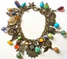 One-of-a-kind brass charm bracelet w/turquoise, amethyst.....