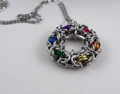 Rainbow Circle Byzantine Pendant Chainmaille by CreationsbyUli