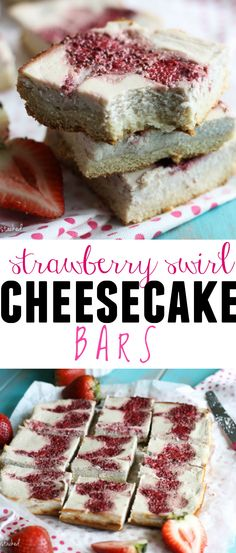 Strawberry Swirl Cheesecake Bars- Creamy cheesecake swirled with a sweet, homemade strawberry chia jam with a grain-free, protein-packed crust. SO much easier than making a normal cheesecake and they just look fancier! | www.doubledosefitness.com