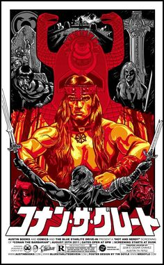 Conan The Barbarian - silkscreen movie poster (click image for more detail) Artist: Tim Doyle Venue: Blue Starlight Drive-In Location: Austin, TX Date: Edition: signed and numbered Size Best Movie Posters, Movie Poster Art, Cool Posters, Cinema Posters, Art Posters, Conan The Barbarian Movie, Conan Movie, Arnold Schwarzenegger, Conan The Destroyer