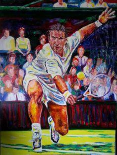 Artist: Salvador Medina - Title: Pat Rafter (92.00 cm X 122.00 cm) #tennis #painting