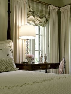 Love the window treatments.Alamo Heights Comfortable Elegance - Bedroom by Texas Designer Audrey Curl of Ornamentations Design Bedroom Green, Home Bedroom, Master Bedroom, Bedroom Decor, Green Bedrooms, Pretty Bedroom, Casa Magnolia, Custom Window Treatments, Old World Style