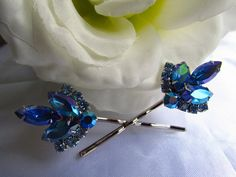 Bridal hair combsapphire blue blue hair by BridalDesignsByDonna, $39.00