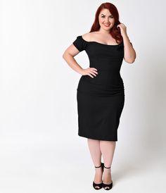 Plus Size 1950s Pin-Up Black Off Shoulder Brigitte Stretch Wiggle Dress $138.00…