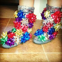 DIY Holiday Boots - Perfect for an ugly sweater party, holiday get together and holiday party! Just stick them onto a pair of slippers (indoor) or boots (outdoor) For the ugly sweater party! Tacky Christmas Party, Tacky Christmas Sweater, Merry Christmas, Ugly Sweater Party, Christmas Humor, Christmas Holidays, Christmas Outfits, Xmas Sweaters, Tacky Sweater