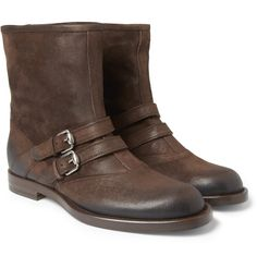 Gucci Burnished-Suede Double-Strap Boots | MR PORTER