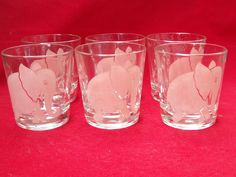 FEDERAL GLASS PINK ELEPHANT MUSIC SMALL GLASSES -