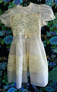 1950s Girls Flower Girl Dress 6 8 Size Lace Tulle and Bows | eBay