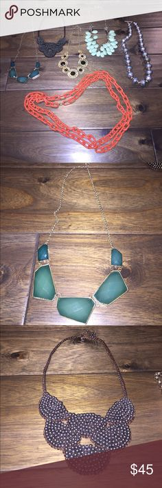 Collection of Statement Necklaces Collection of six statement necklaces from J. Crew, Nordstrom and Ralph Lauren. Excellent condition. Perfect for spicing up any outfit. Individual pieces for $10, or save and buy the whole set for $45! Nordstrom Jewelry Necklaces