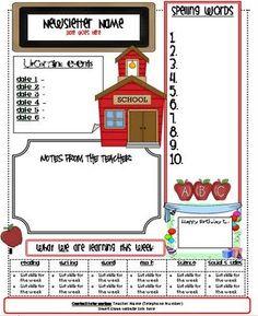 Weekly Newsletter Templates For Teachers | Third Grade | Pinterest ...