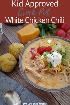 My daughter absolutely LOVES thie recipe! #lowcarbwhitechickenchilislowcooker High Protein Meal Plan, Low Carb Meal Plan, Low Carb Keto, Ground Beef Recipes For Dinner, Healthy Dinner Recipes, Low Carb Recipes, Burger Side Dishes, Low Carb Chicken Casserole, Dinner Dishes