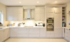 """Bright and beautiful """"Stepped Shaker"""" Contemporary Kitchen Design in Co. Kildare, Ireland. #KitchenDesign #Kitchens"""