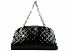 Chanel Mademoiselle 2 way bag  black patent leather w silver hardware .condition good .L 33 x H 17 x W 15 cm