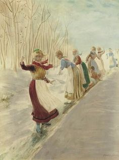 Norwegian Painter Hans Dahl (1849-1937)  We did this as kids in the school yard.