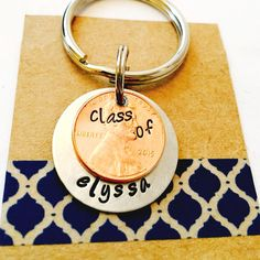 Hand Stamped Graduation Penny Key Chain Class by UniquelyImprint