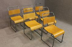 INDUSTRIAL VINTAGE STYLE METAL AND WOOD STACKING CHAIRS WITH SILVER FRAME CAMDEN
