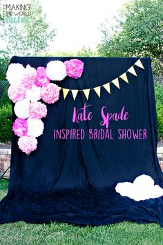 Beautiful Kate Spade inspired Bridal Shower with black and white stripes, pops of hot pink and sparkled with gold, this is a shower to remember!