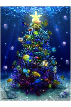 A Christmas Coral by priteeboy on deviantART ~ under water tropical Christmas tree Tropical Christmas, Beach Christmas, Coastal Christmas, Noel Christmas, All Things Christmas, Christmas Lights, Vintage Christmas, Christmas Crafts, Christmas Decorations