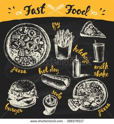 Hand drawn vector illustration of a fast food theme products on black background. Fry, pizza, burger, hot dog and more.