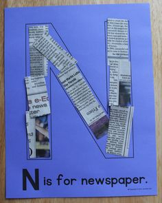 N is for newpaper. Editable alphabet pages for a DIY ABC book. Alphabet activities for preschool, pre-k, and early childhood education. Create a letter book or use for letter of the week activities.