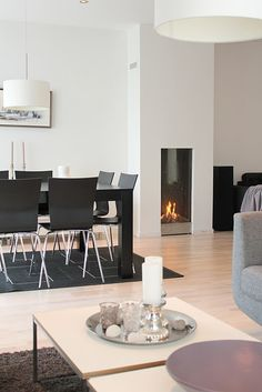 fireplace Minimal House Design, Minimal Home, Dining Area, Dining Table, Home And Living, Living Rooms, Modern Spaces, Decoration, Modern Interior