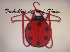 Trabalhos da vovó Sônia: Bolsa-mochila infantil joaninha - crochê