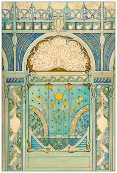 $1.85 - Art Nouveau Repro Postcard - Peacock And Sunflowers Design - Blue, Gold, Green #ebay #Collectibles