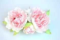 Wedding bridal peonies flower floral hair comb by IvannaFlorist