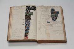 Auftrags- und Rechnungsbuch der Bandweberfabrik Sarasin & Co. in Frankfurt am Main, gebundenes Manuskript mit Gewebeproben, 1797-1838, Inv.-Nr. X17633 (c) hmf, Foto: U. Dettmar