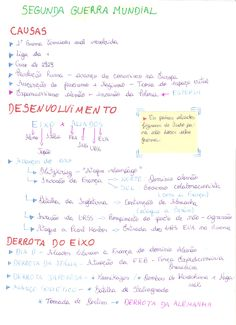 Mapa mental/fichamento sobre a segunda guerra mundial ; Studyblr, Material Didático, School Motivation, History Class, Lettering Tutorial, Study Hard, Study Notes, Student Life, Study Tips