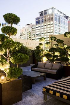 Furniture and Pots with Lighting | The best rooftop design ideas for your home! See more inspiring images on our board at http://www.pinterest.com/homedsgnideas/rooftop-design-ideas/