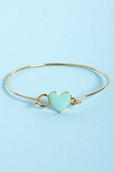 Cute Gold Bracelet - Mint Bracelet - Heart Bracelet