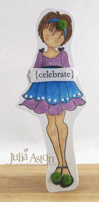 Create With Me: I made this mixed media project stamping the Prima Ruffle Doll stamp onto sticky back canvas and layering it to grungeboard.  I colored her with gelatos and Copic Pens and stood her up using an easel back cut with a Tim Holtz Alterations die.
