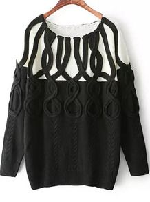 9647225f2fa00 Black Long Sleeve Vintage Cable Knit Sweater Cotton Jumper