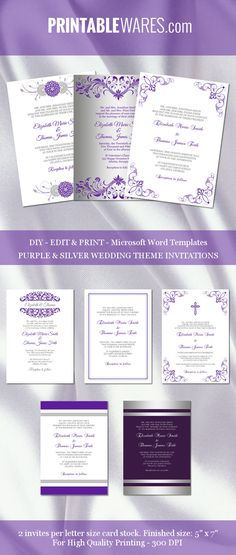 Purple and silver wedding invitation templates for Microsoft Word. Printable and editable, all DIY!