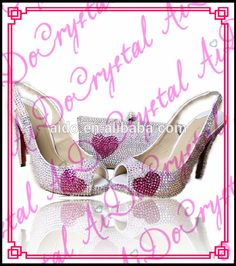 22ea0ab4e039f Aidocrystal summer white crystal wedding cute heart shape pattern african  sexy low heel shoes and bag set