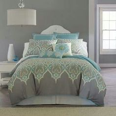 Grey and turquoise bedroom