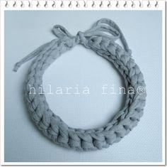 Crochet Necklace made of T-Shirt Yarn https://www.facebook.com/hilaria.fina