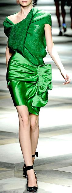 Lanvin Spring 2009 RTW Mixed Fabric Green Dress